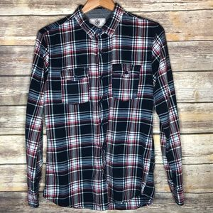 On the byas flannel button up shirt fall red blue
